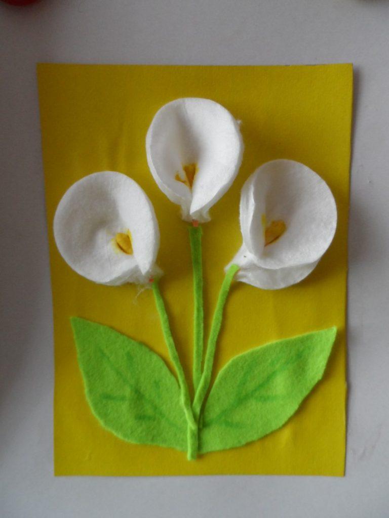 Открытка из цветов своими руками из ватных дисков, открытка конвертом как