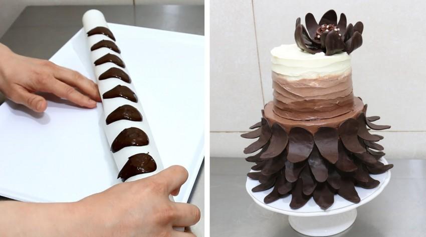 Как украсить торт шоколадом своими руками: глазурь, паутинка, конфеты и другие рецепты